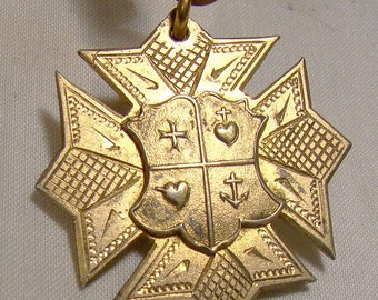 Gilt Sterling Silver Award Fob Loretto Academy Guelph Ontario Watch Chain Pendant 1900