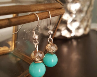 Turquoise blue glass beaded earrings