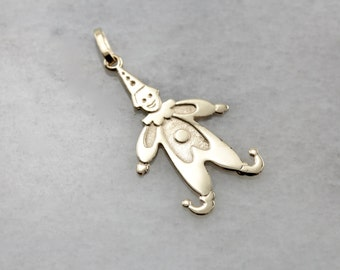 Vintage Clown Charm or Pendant for Layering in Yellow Gold 5ELCE8-P