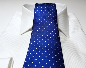 Slim Tie (2.75 inch) in Polka Dots with Horizon Cobalt Blue Herringbone and White  (POCKET SQUARE also available)
