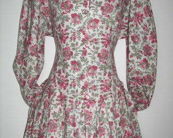 Laura Ashley vintage autumn/winter cotton/wool blend afternoon tea dress,  lace embroidered collar, rear ties, size 10 UK