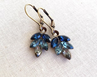 Blue gray ombré, Swarovski, rhinestone leaf earrings, ombré, something blue, gray, dusty blue, bridesmaid gifts, multi color, ombre earrings