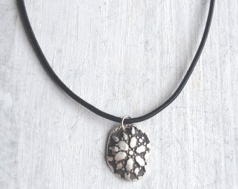 Fine Silver Flower Charm Layered Necklace  Silver Pendant Necklace Flower Pattern PMC Silver Metal Clay Pendant