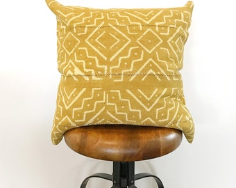 20 x 20 Mustard Aztec Mudcloth Pillow