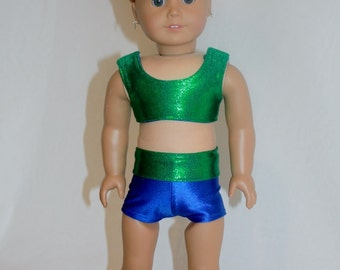 """American Girl  18"""" Doll  -  Cheerleader Outfit - Sports Bra, Shorts and Bow - Blue and Green Mystique"""