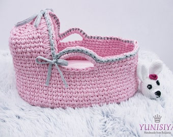 Crochet basket Newborn Moses Basket   Baby Bassinet  Baby girl bed Baby bassinet Couture moses basket Infant Bed Organic bassinet Baby moses