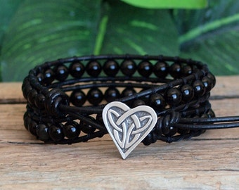 Black Beaded Wrap Bracelet, Rainbow Obsidian Bracelet, Beaded Double Wrap Bracelet, Obsidian Gemstone Leather Wrap, Black Gemstone Wrap