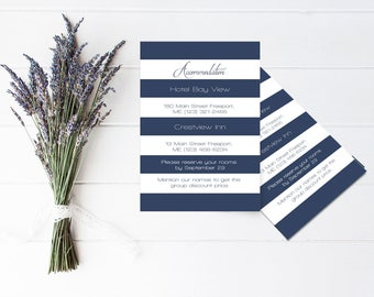 Wedding Accommodations Template, Printable Wedding Information Card, Wedding Detail Cards, Navy Stripes Accommodation Inserts, DIY You Print