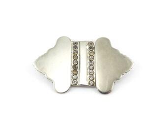 Vintage Czech Belt Buckle, Rhinestones, Silver Tone, Czechoslovakia