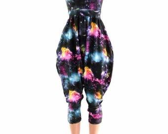 Tank Style Drop Crotch Harem Jumpsuit in UV Glow Galaxy Festival Onsie Romper Playsuit 152901