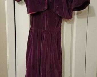 1940s 1950s Purple Velvet Dress and Bolero Jacket Two Piece