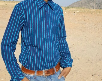 Handmade Man Long Sleeves Fitted Shirt made of Pure Cotton  Blue ON Blue  Block Print