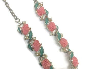1950s Necklace, Vintage Thermoset and Enamel Necklace, Coral Flower Necklace, Tulip Necklace, Choker Necklace, Costume Jewelry