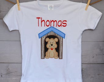 Personalized Puppy Dog in Dog House Applique Shirt or Onesie Boy or Girl