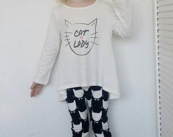 Monocrome leggings, cat leggings, black and white, girls leggings jersey clothing, kids clothing, uk