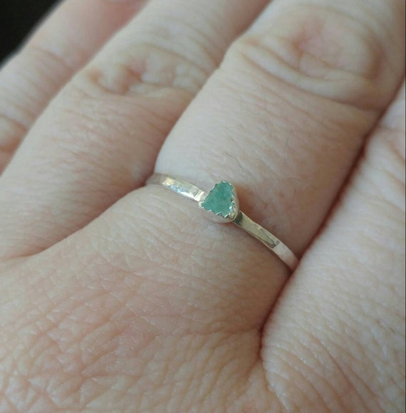Raw Aquamarine Stacking Ring | Sterling Silver Ring Sz 11 | Raw Blue Aquamarine Ring | Raw Stone Ring | Raw Stone Stackable Ring