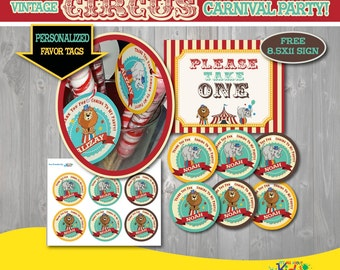Printable Circus Party Favor Tags with Free Sign-Vintage Circus Birthday-First Carnival Birthday-Carnival Party-Circus Party Printable Tags