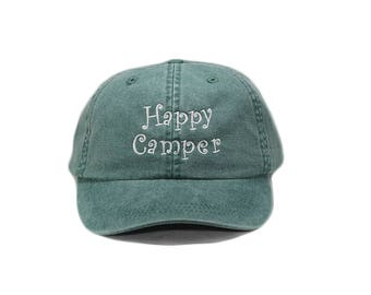 Happy Camper embroidered hat, glamping baseball cap, happy camper cap, dad hat, mom cap, camping, camping gift