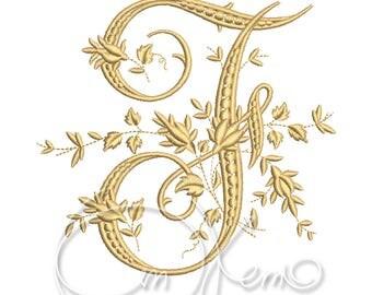 MACHINE EMBROIDERY DESIGN - Victorian Letter F embroidery, Victorian alphabet embroidery, Antique alphabet embroidery, Monogram embroidery