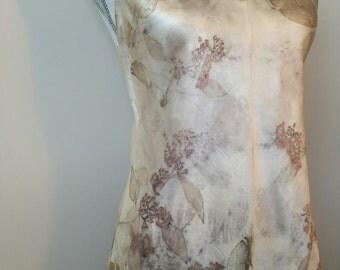 Satin Eco Print Silk Cami_ Eucalyptus Leaves _ Silk Top
