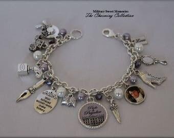 Pride and Prejudice Lavender white Jewelry bracelet, Mr. Darcy Pride and Prejudice Jewelry, Jane Austen Book Fan Jewelry, Jane Austen Gift