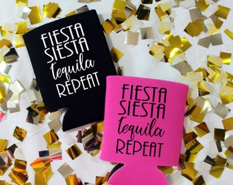Fiesta Siesta Tequila Repeat Can Cooler, Bachelorette Beer Holder, Beverage Insulator, Beach Beer Holder, Drink Holder, Bachelorette Party