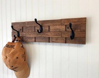 wood coat hook rack wall mount coat rack entryway organizer towel rack rustic coat rack hallway organizer coat hooks - Coat Hooks With Storage