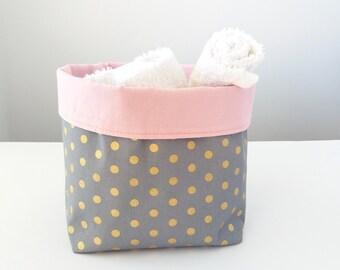 Nappy caddy, Girls nursery, Storage basket, Baby girl nursery, Pink grey gold, Nappies storage, Change table organizer, Babyshower gift