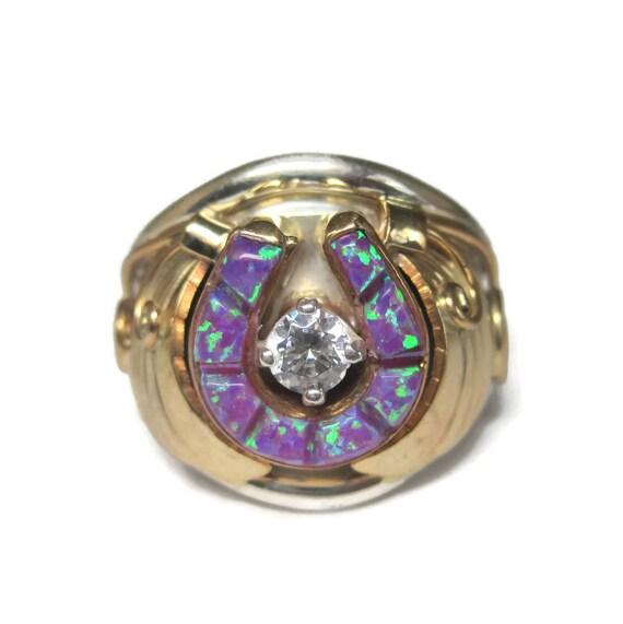 Vintage Navajo Sterling 12K Purple Opal Horseshoe Ring Size 8 Alice Gabby