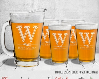 Monogrammed Pitcher with Four Pint Glasses, Man Cave Gift, Custom Beer Gift, Home Brew Gift, Homebrew Gift, Engraved Personalized Pitcher