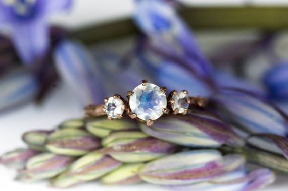 14k rose gold moonstone twig engagement ring, three stone engagement ring, moonstone twig ring