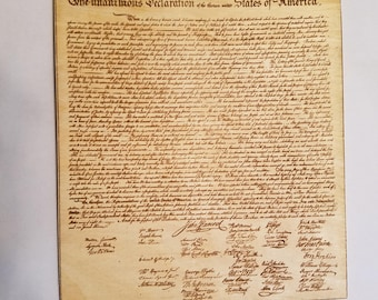 """Wooden Plaque of the Declaration of Independence on an 8""""x11"""" Sheet of Wood"""