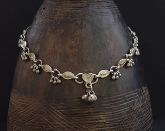 SILVER-FOOTED I   Beautiful vintage ethnic tribal silver anklet from India, probably Rajasthan, fish & bells, marked, tribal dance, Boho