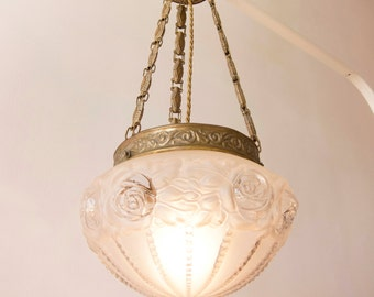 AUTHENTIC Antique 1900 Art Nouveau light with Frosted glass and Pressed brass chain / RESTORED / Sculpted Floral design / Roses and leaves