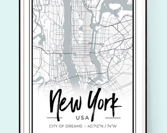 New York Print. Map Print. New York Map. Fashion Illustration. Modern Home Décor.