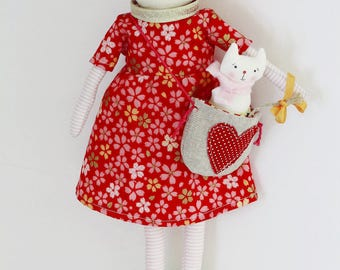 Rag doll handmade, Elia cat leads to your baby in a bag