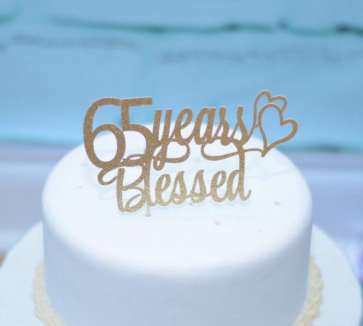 65 Wedding Anniversary Gift: 65th Wedding Anniversary Cake Topper 65th Birthday Cake