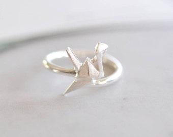 Origami Crane Ring, Sterling Silver Bird Origami Ring, Adjustable Origami Crane Ring, Origami Jewelry, Animal Ring, Jamber Jewels