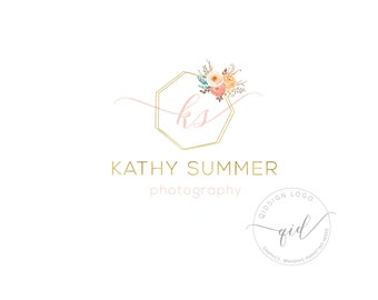 Premade photography logo floral, watermark, branding package for marketing