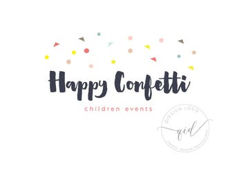 Premade confetti logo, colorful confetti branding, party planner, kids business logo, etsy branding, brush logo design, business card logo