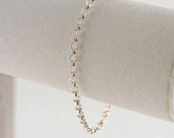 """Sterling Silver Rolo Link Bracelet 8"""" For Larger Wrist"""