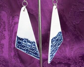 Fine Porcelain lace embossed Tri drop earrings