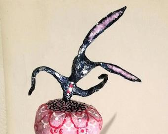 Rabbit-dancer in paper mache sculpture
