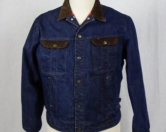 Vintage 1960's / 1970's Key Imperial Western Chore Denim Jean Jacket - Excellent Condition - Size Large