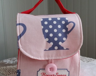 TEA CUP and Tea Tote Coffee Cup Purse Travel Tea Tote Tea Wallet Mug Tote Tea Purse Gift Ideas Coffee Tea Lovers Gift Messenger Bag Style
