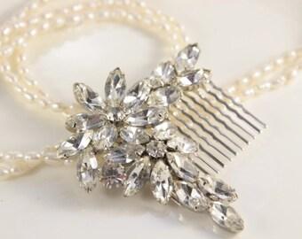 Crystal Bridal Hair Comb Flapper Silver Large Flowers Diamante OOAK Bridal Flower Jewelry Vintage Rustic Spray Rhinestone 1940s Brooch