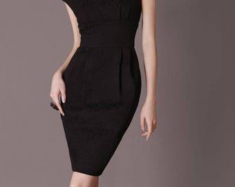 Vintage Clothing Retro Elegant Black Dress Handmade Dress Classic Style Black Evening Dress Formal Dress Sexy V Back Chieflady CC17