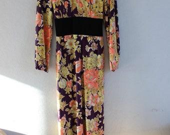 1970's Groovy Floral Maxi Dress