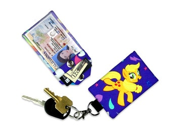 Apple Jack My Little Pony Mini Wallet Card Holder Keychain Clear ID Holder Accessory Bag Small Wallet Student ID Badge Magic Credit Card
