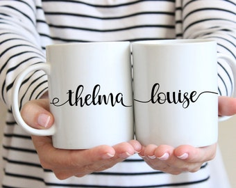 Gift for best friends - set of 11 oz or 15 oz white ceramic mugs, dishwasher safe, thelma and louise, gift for bff, sister gift